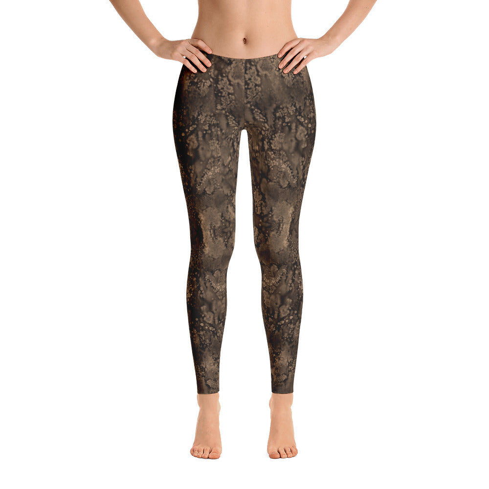 Valroys.com Ladies Leggings - Sepia Paisley Smudge Leggings by MuchiUSA - MuchiUSA