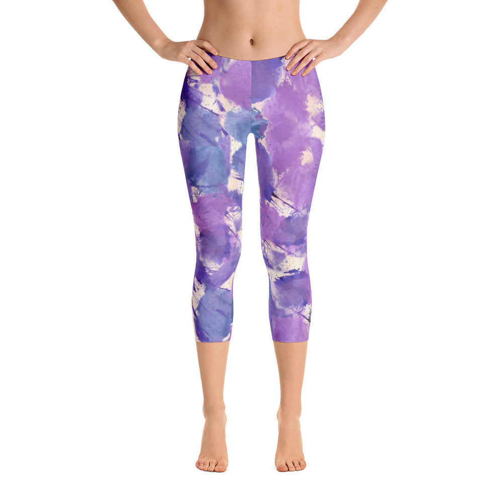 Ladies Capri Leggings: Boxing Glove Lilac Paint Punches Capri Leggings - Punch Like A Girl - Valroy's Store