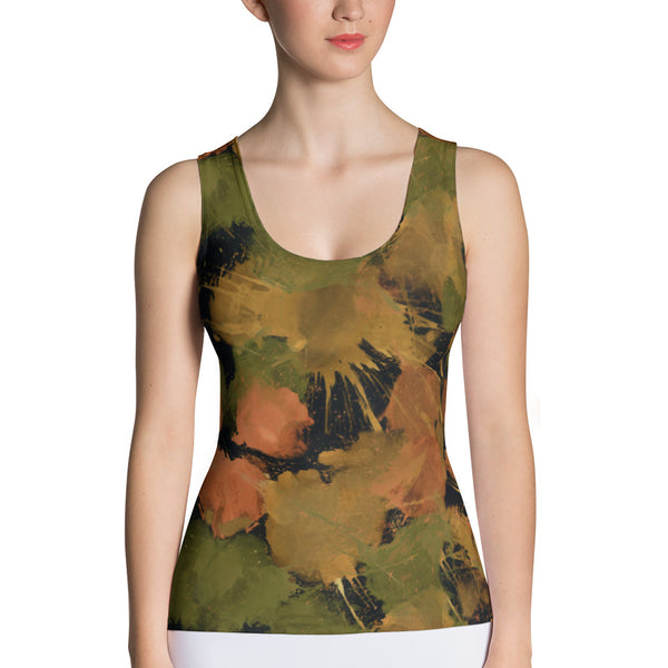 Ladies Tank Tops: Boxing Glove Autumn Paint Punches Tank Top - Punch Like A Girl - Valroy's Store