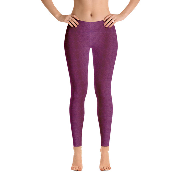 Ladies Leggings: Deep Pink Denim Pattern Leggings by Muchi USA - Valroy's Store