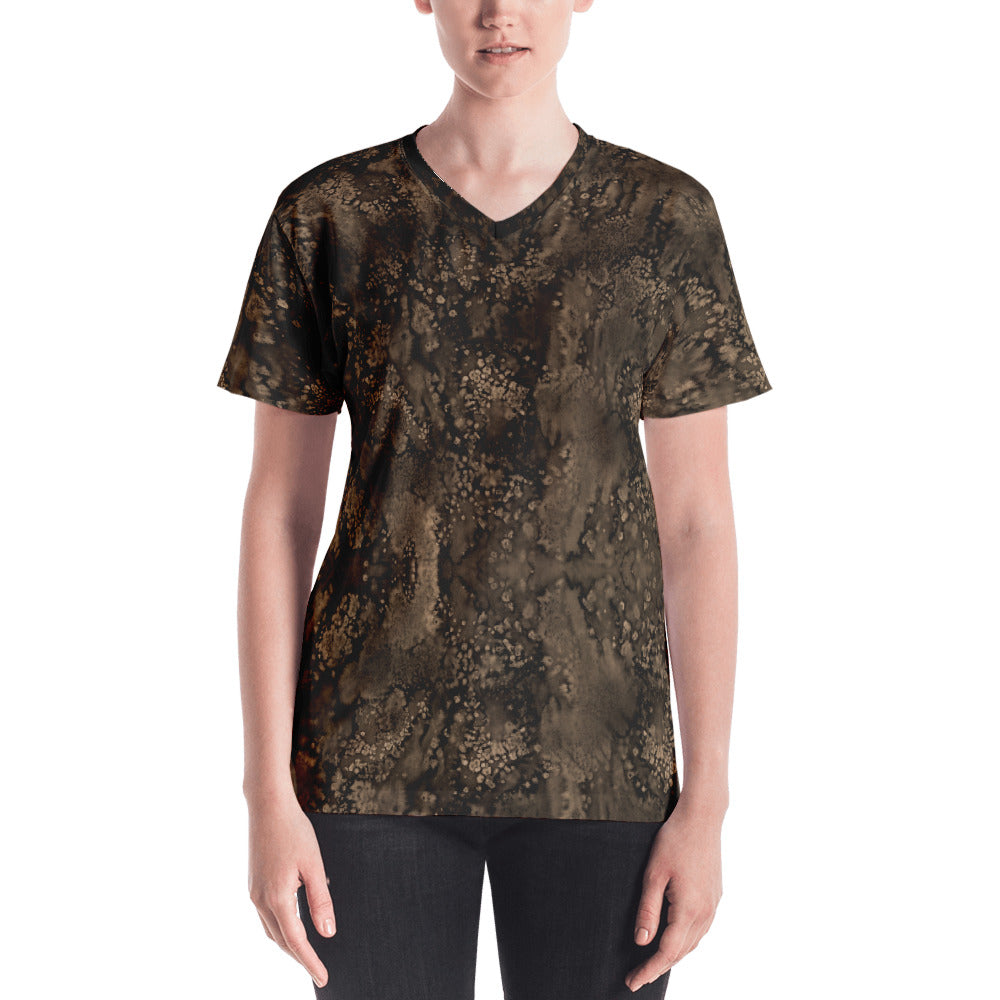 Valroys.com Ladies V-Neck T-Shirts - Sepia Paisley Smudge Womens V-neck by MuchiUSA - MuchiUSA