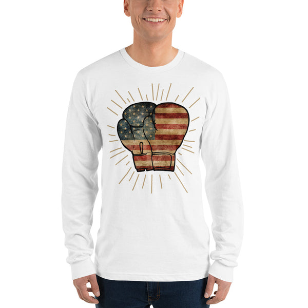 Valroys.com Unisex T-Shirts - USA Flag Boxing Gloves Unisex Long Sleeve T-Shirt Punch Like A Girl® - PunchFit