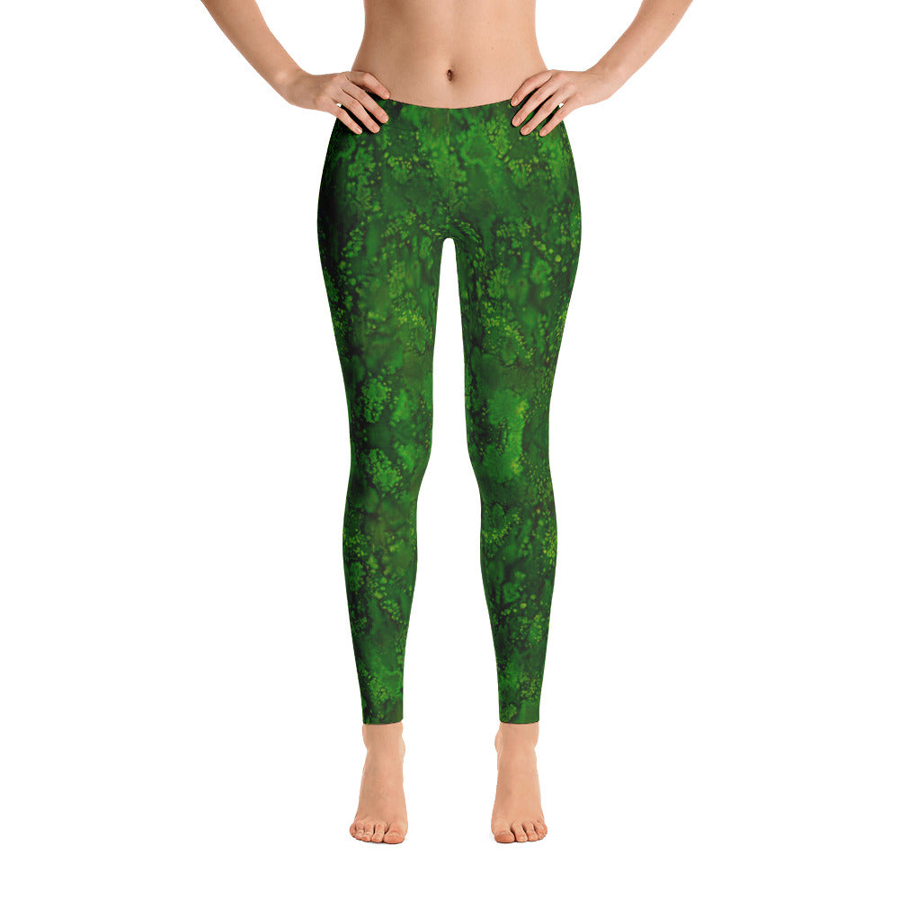 Ladies Leggings: Emerald Paisley Smudge Leggings by MuchiUSA - Valroy's Store