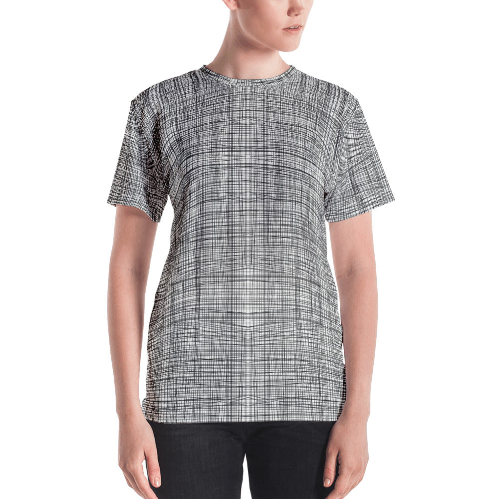 Ladies T-Shirts: Gridlines Womens T-shirt Top by MuchiUSA - Valroy's Store