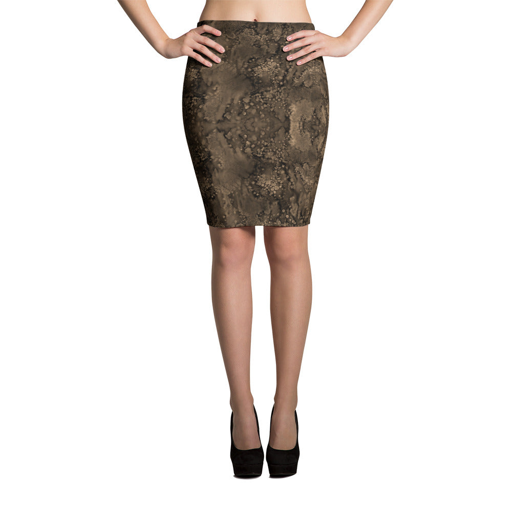 Sepia Paisley Smudge Pencil Skirt by MuchiUSA - Valroy's Ladies Skirts