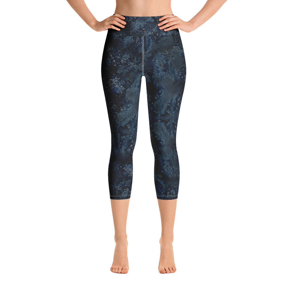 Ladies Yoga Capri Leggings: Blue Paisley Smudge Yoga Capri Leggings by MuchiUSA - Valroy's Store