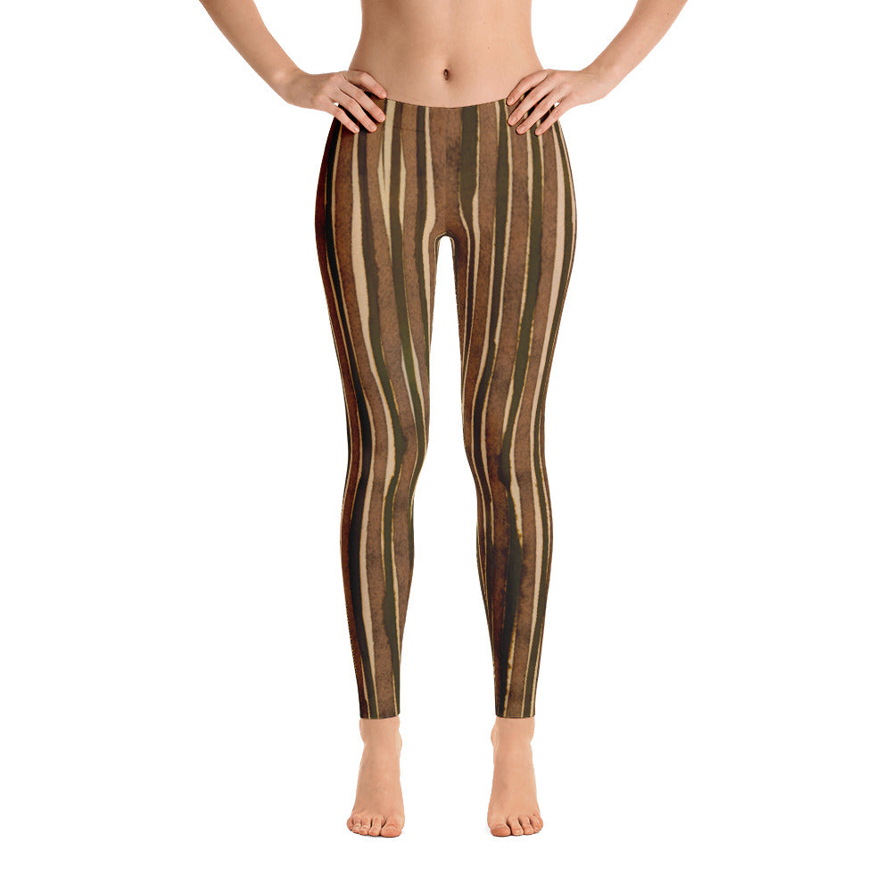 Valroys.com Ladies Leggings - Water Color Brown & Olive Stripe Leggings by Muchi USA - MuchiUSA