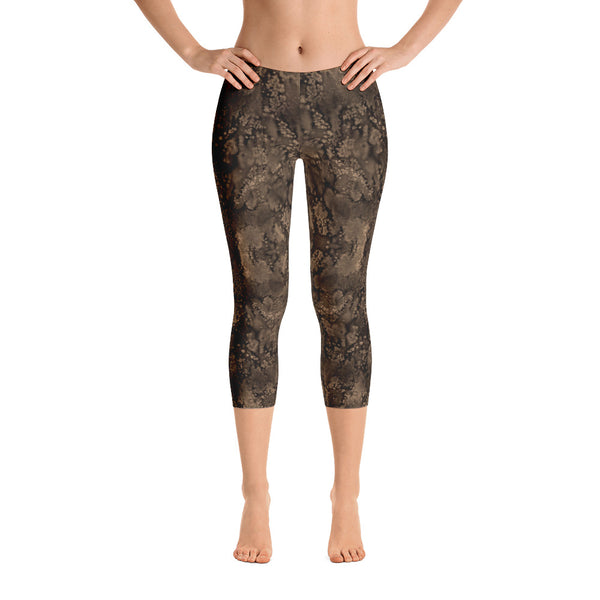 Valroys.com Ladies Capri Leggings - Sepia Paisley Smudge Capri Leggings by MuchiUSA - MuchiUSA