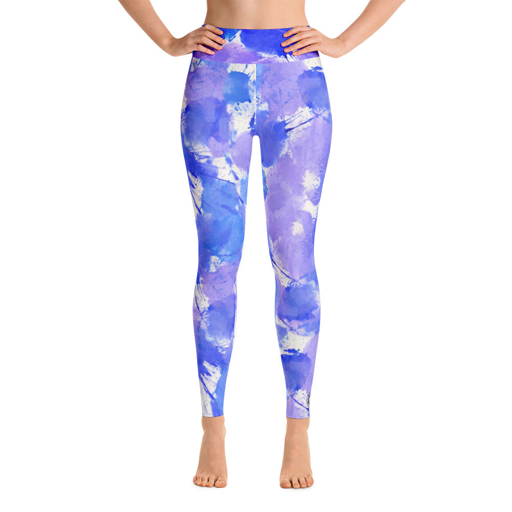 Ladies Yoga Leggings: Boxing Glove Purple Paint Punches Yoga Leggings - Punch Like A Girl - Valroy's Store
