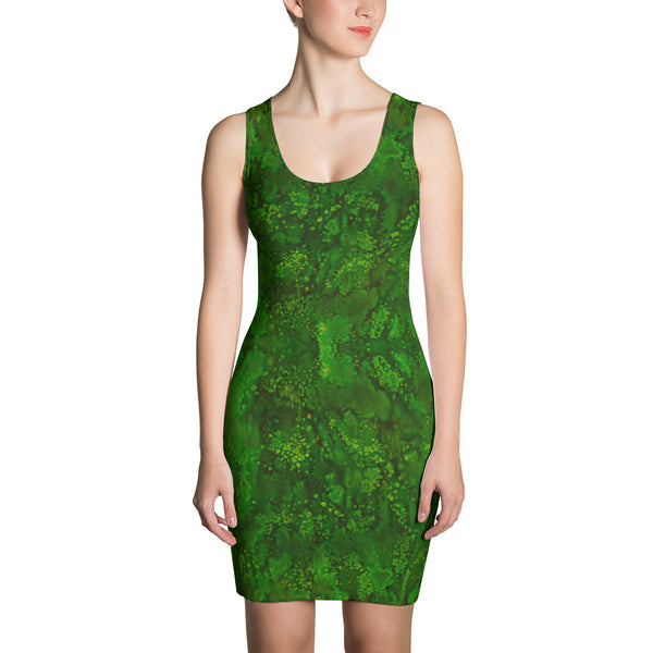 Emerald Paisley Smudge Fitted Designer Dress by MuchiUSA - Valroy's