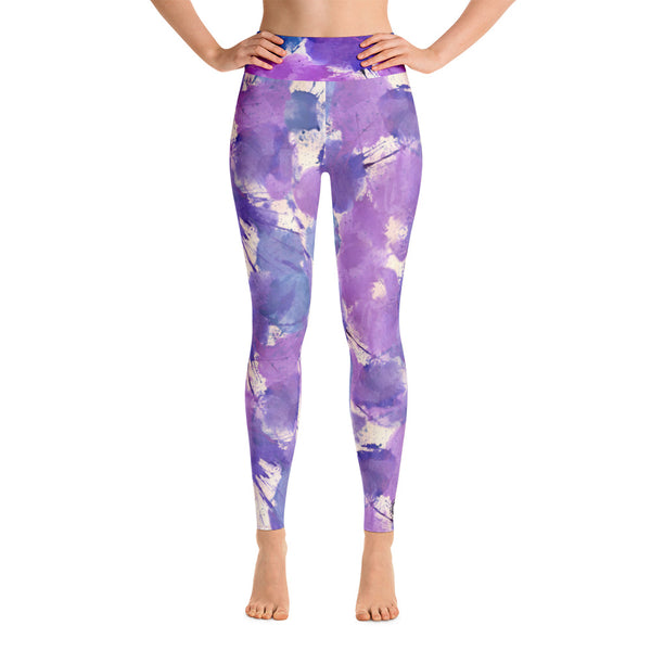 Ladies Yoga Leggings: Boxing Glove Lilac Paint Punches Yoga Leggings - Punch Like A Girl - Valroy's Store