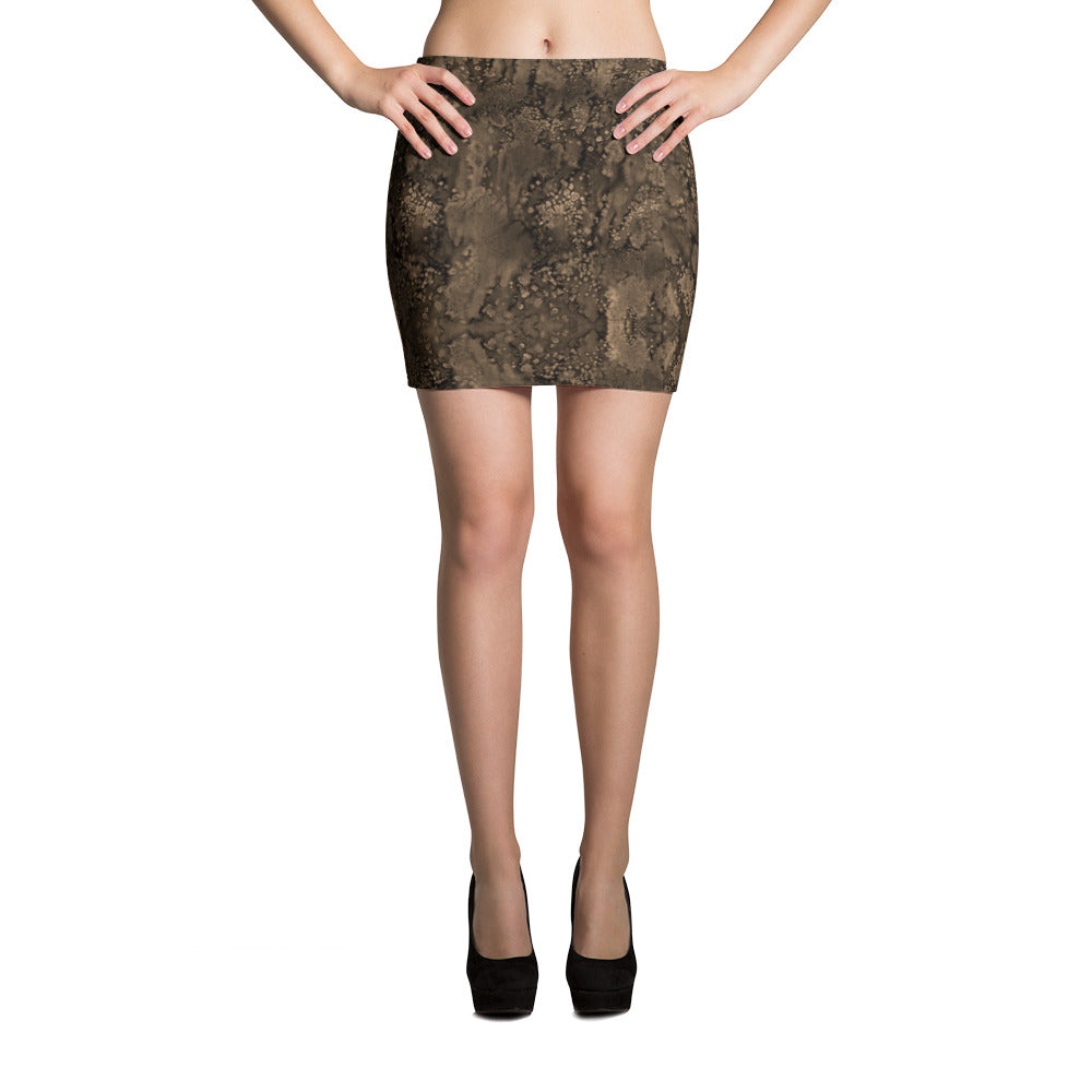 Sepia Smudge Mini Skirt by MuchiUSA - Valroy's Ladies Skirts