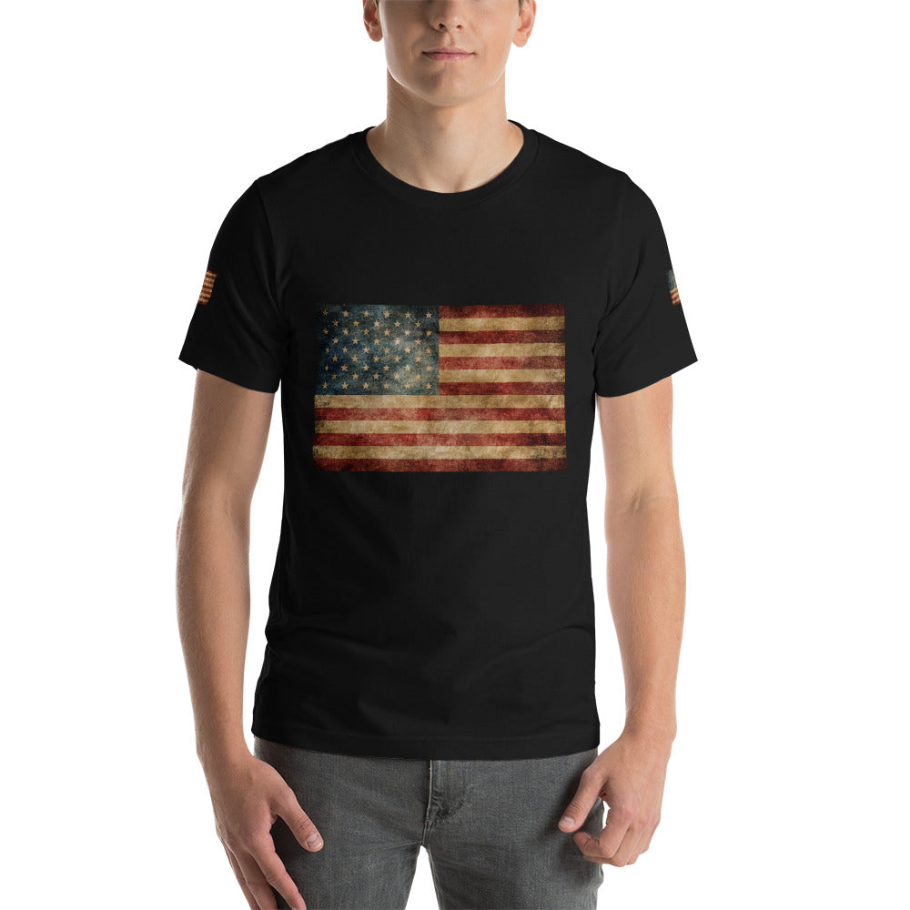 Valroys.com Gents T-Shirts - Rustic Flag Rainbow Make America Again Mens Short-Sleeve T-Shirt - MuchiUSA