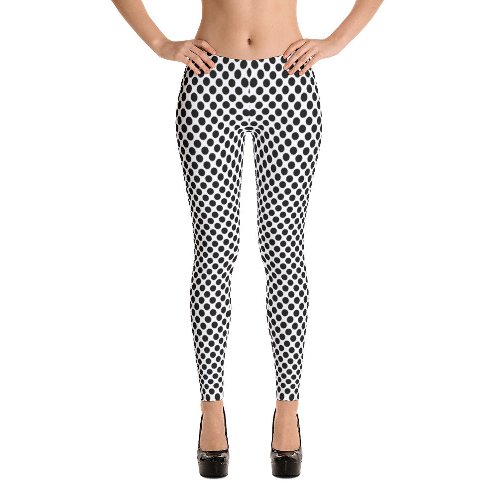 Ladies Leggings: Black Dots Leggings - MuchiUSA - Valroy's Store