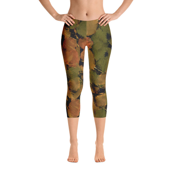 Ladies Capri Leggings: Boxing Glove Autumn Paint Punches Capri Leggings - Punch Like A Girl - Valroy's Store
