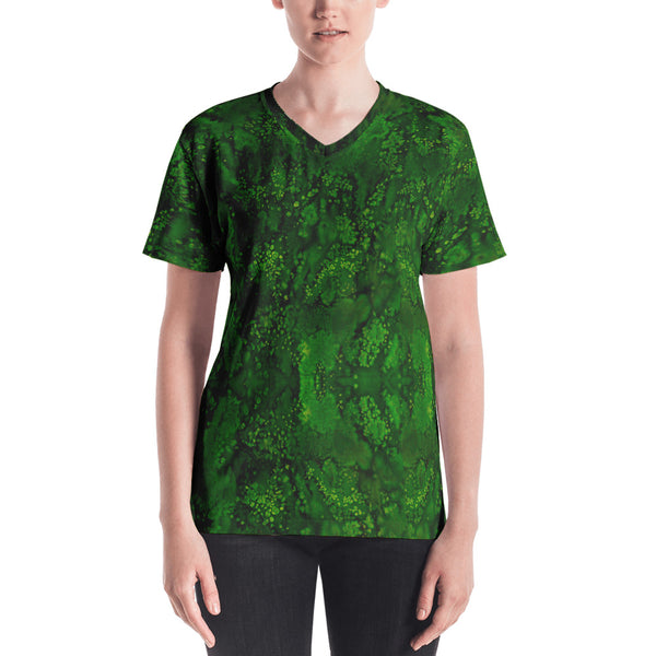 Ladies V-Neck T-Shirts: Emerald Paisley Smudge Womens V-neck by MuchiUSA - Valroy's Store