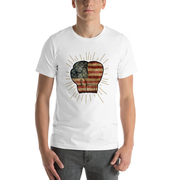 Punch Like A Girl® USA Flag Boxing Gloves Short-Sleeve Unisex T-Shirt Multiple Colors