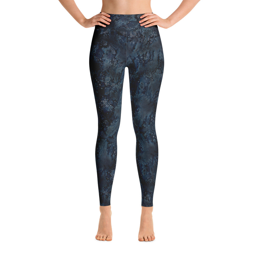 Ladies Yoga Leggings: Blue Paisley Smudge Yoga Leggings by MuchiUSA - Valroy's Store
