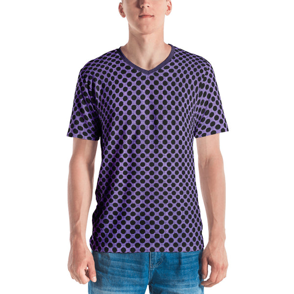 Muchi Men's Designer Purple Burlap Black Dots Print V-Neck T-shirt - Valroy's