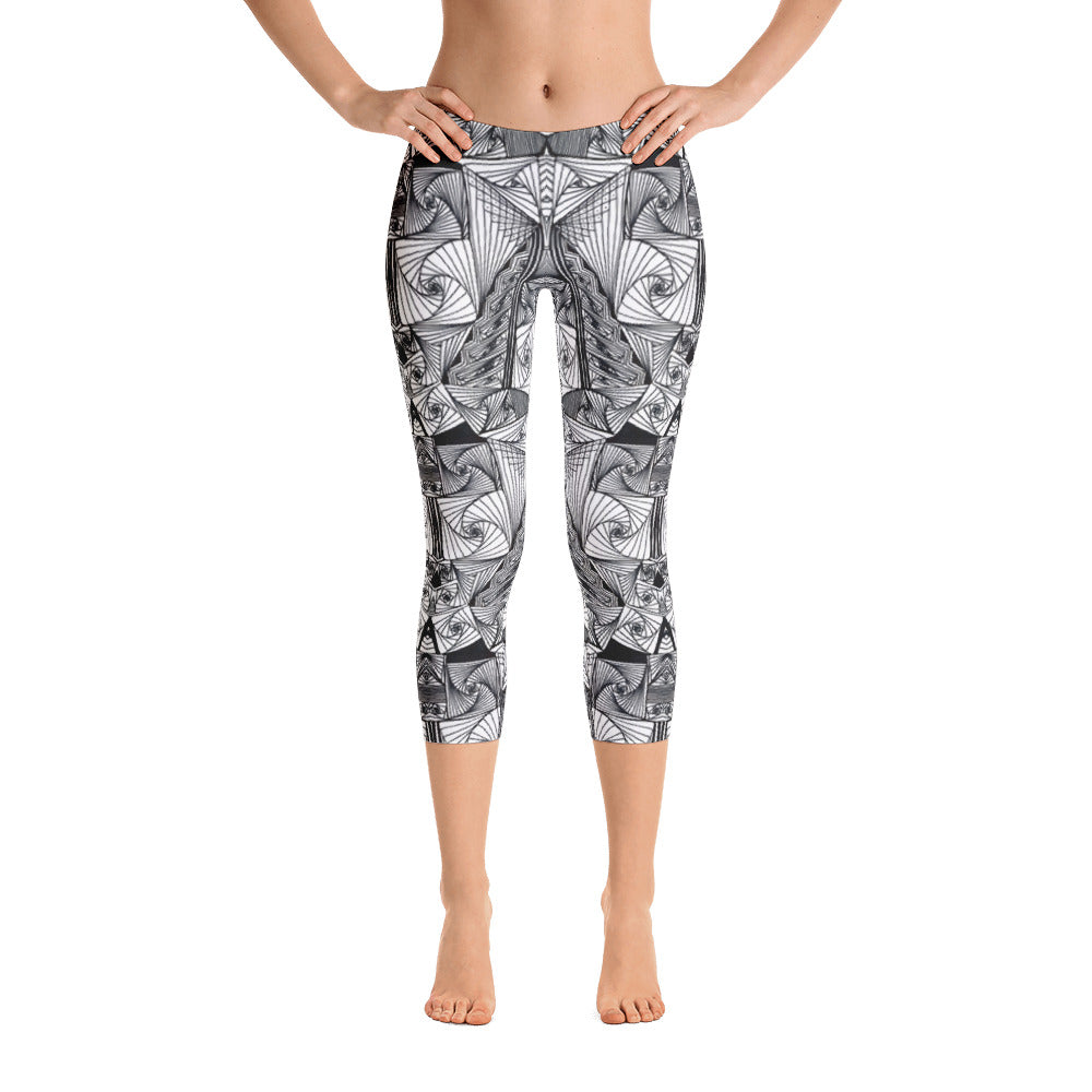 Ladies Capri Leggings: Escheresque Capri Leggings by MuchiUSA - Valroy's Store