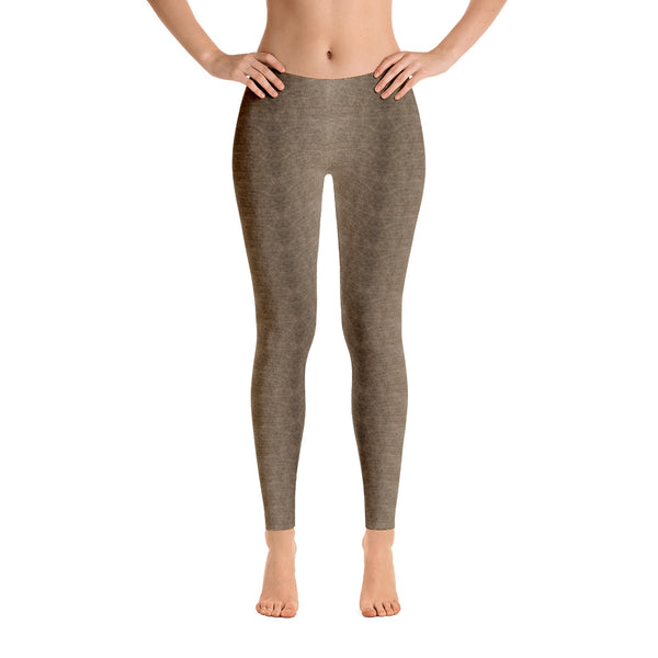 Valroys.com Ladies Leggings - Light Brown Sepia Denim Pattern Leggings by Muchi USA - MuchiUSA
