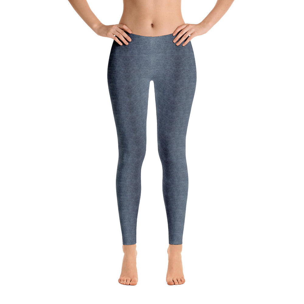 Ladies Leggings: Blue Tinted Gray Denim Pattern Leggings by Muchi USA - Valroy's Store
