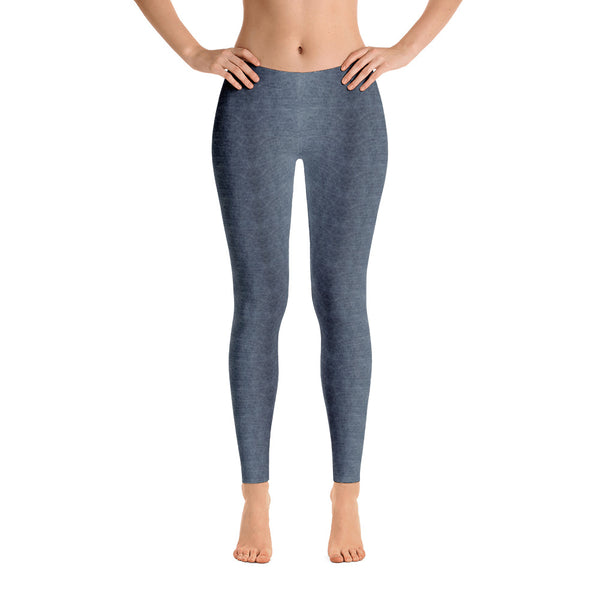 Blue Tinted Gray Denim Pattern Leggings by Muchi USA - Valroy's