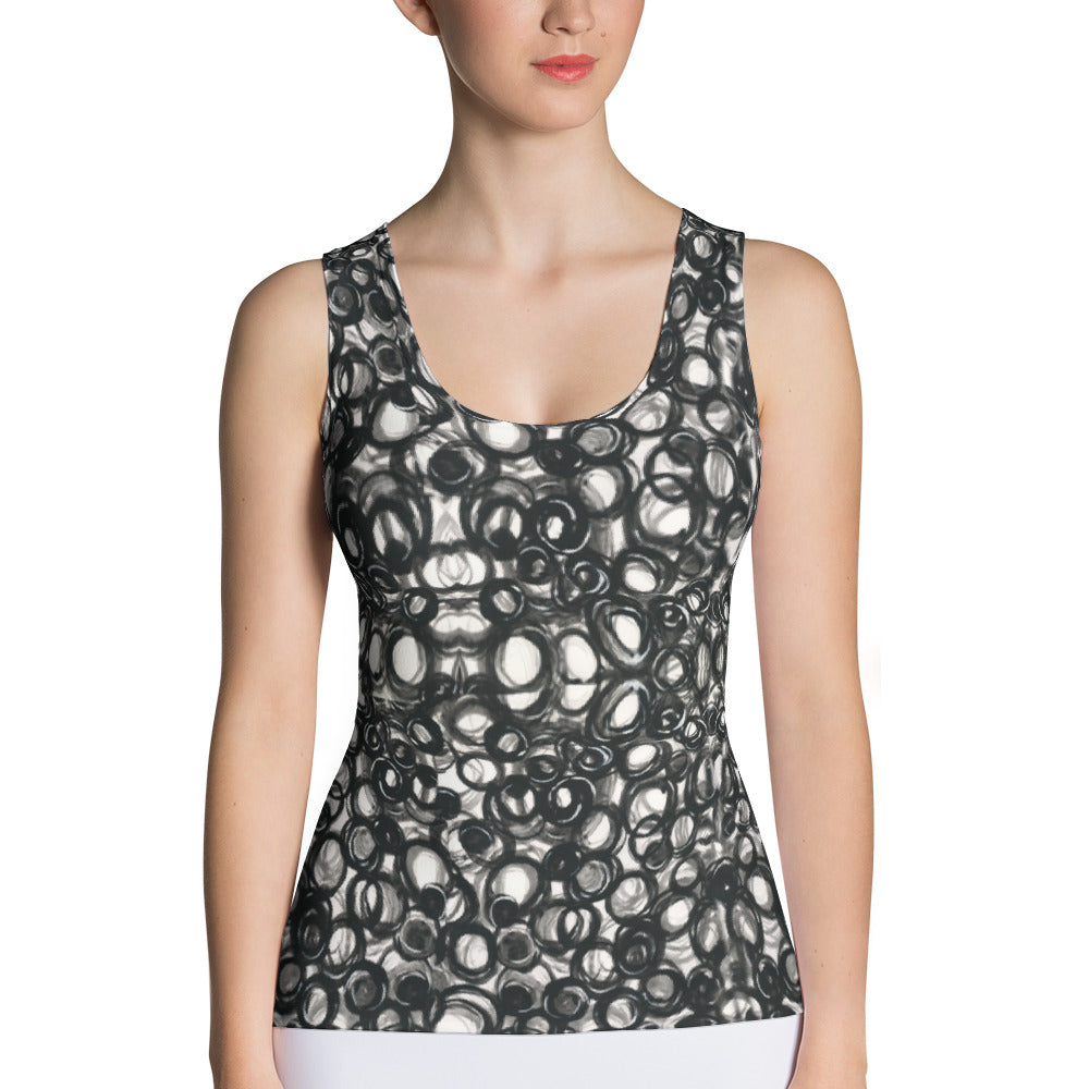 Valroys.com Ladies Tank Tops - Lotsa Loops Designer Cut & Sew Tank Top - Custom Hand-Painted By Muchi USA - MuchiUSA