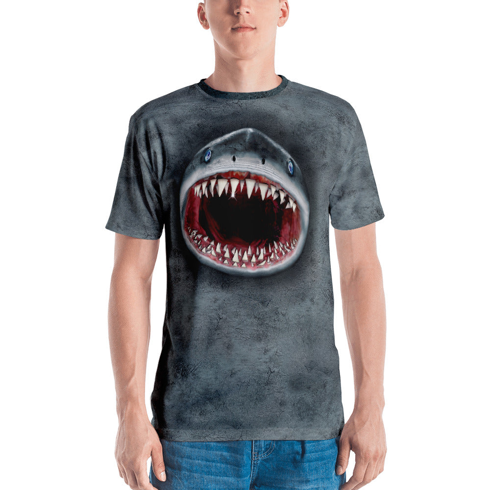 Valroys.com Gents T-Shirts - Mouthman® 3D Gray Shark Mens T-Shirt - MOUTHMAN®