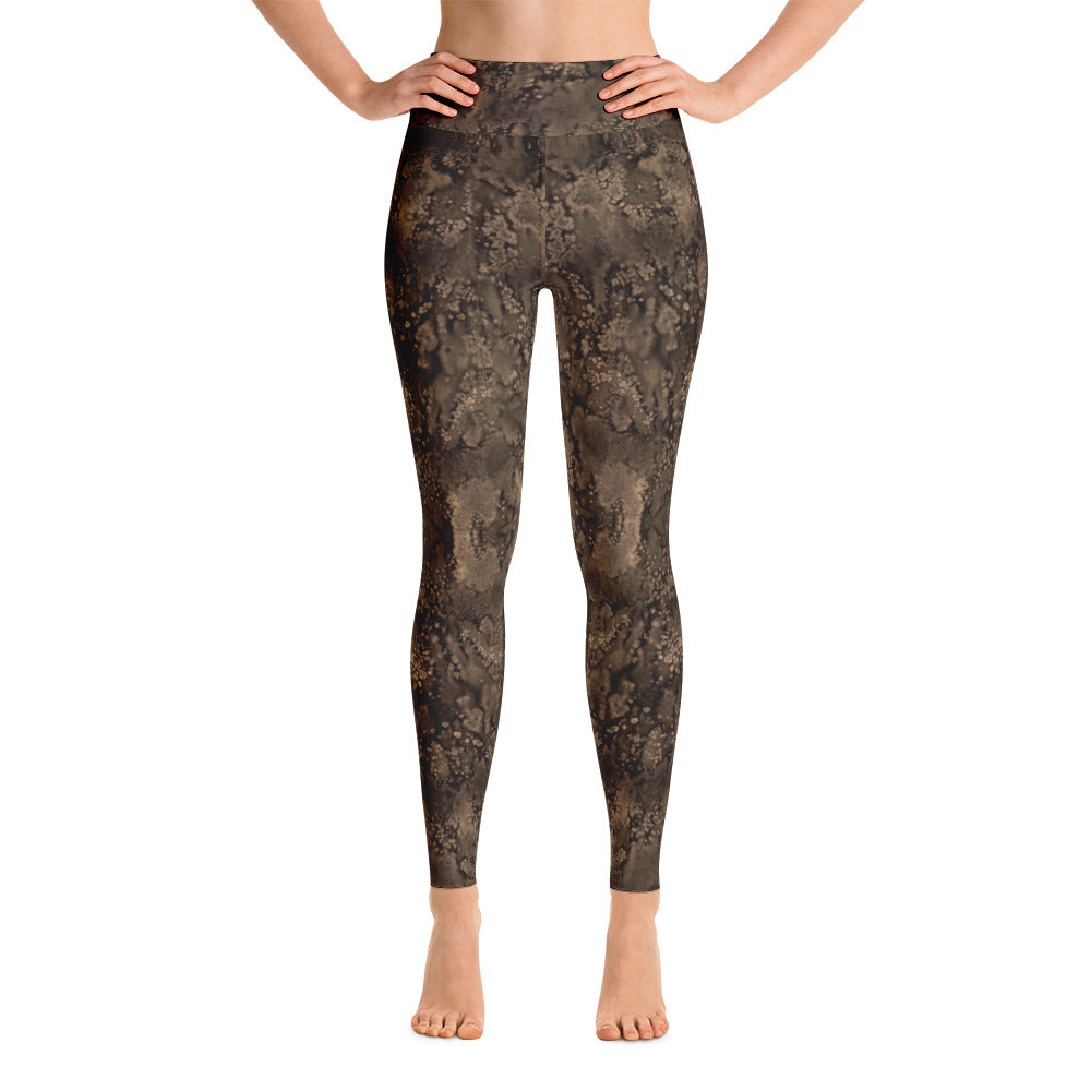 Sepia Paisley Smudge Yoga Leggings by MuchiUSA - Valroy's Ladies Yoga Leggings