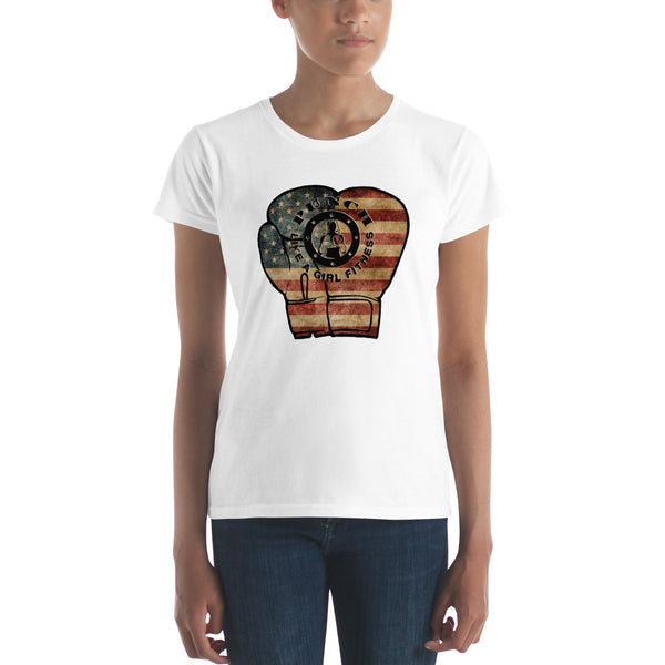 Valroys.com Ladies T-Shirts - USA Flag Boxing Gloves Women's short sleeve t-shirt Punch Like A Girl - PunchFit