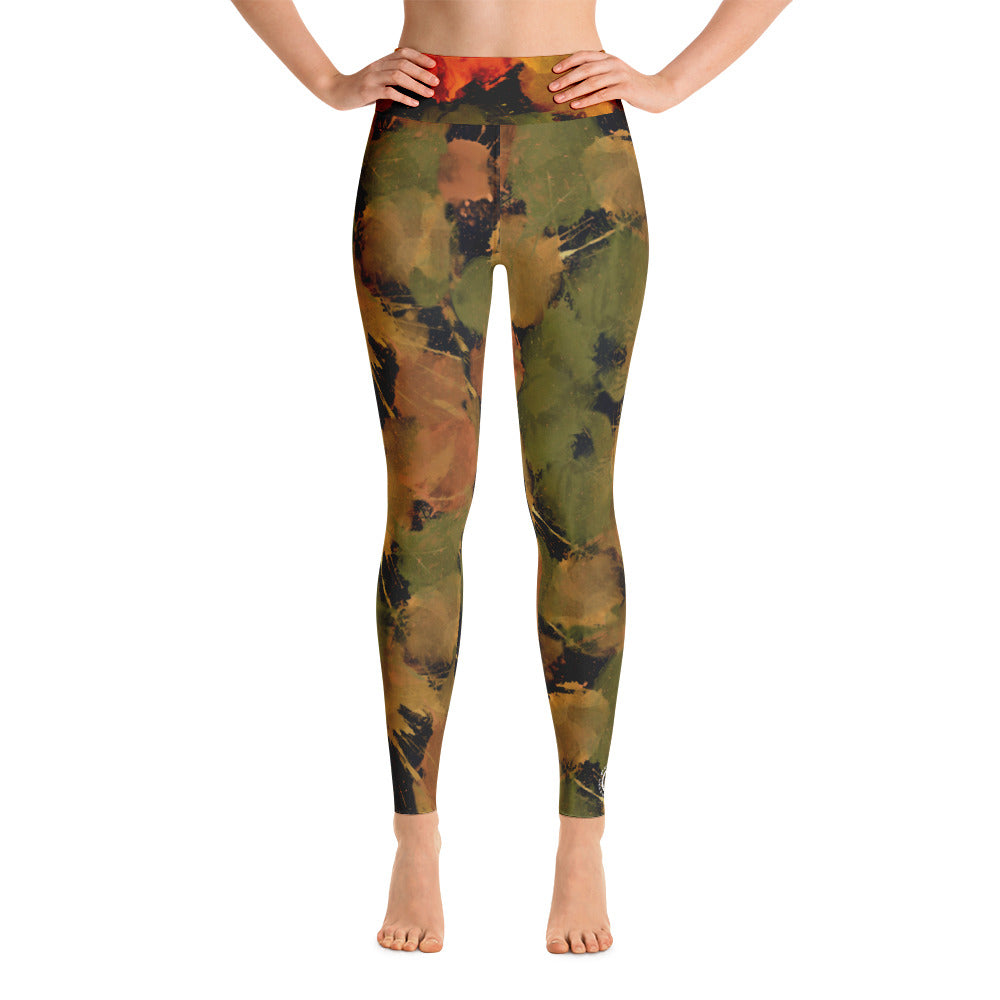 Ladies Yoga Leggings: Autumn Boxing Glove Paint Punches Yoga Leggings - Punch Like A Girl - Valroy's Store