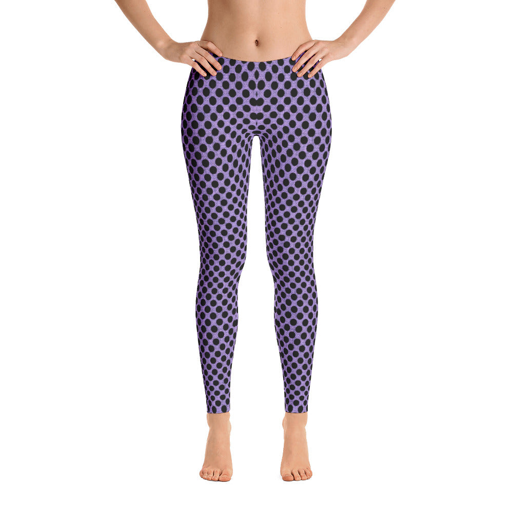 Ladies Leggings: Dotted Purple Burlap Print Leggings - MuchiUSA - Valroy's Store