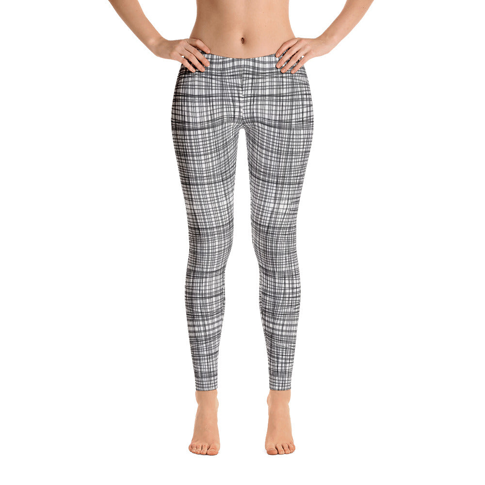 Ladies Leggings: Gridlines Designer Leggings Custom Hand-Drawn by MuchiUSA - Valroy's Store