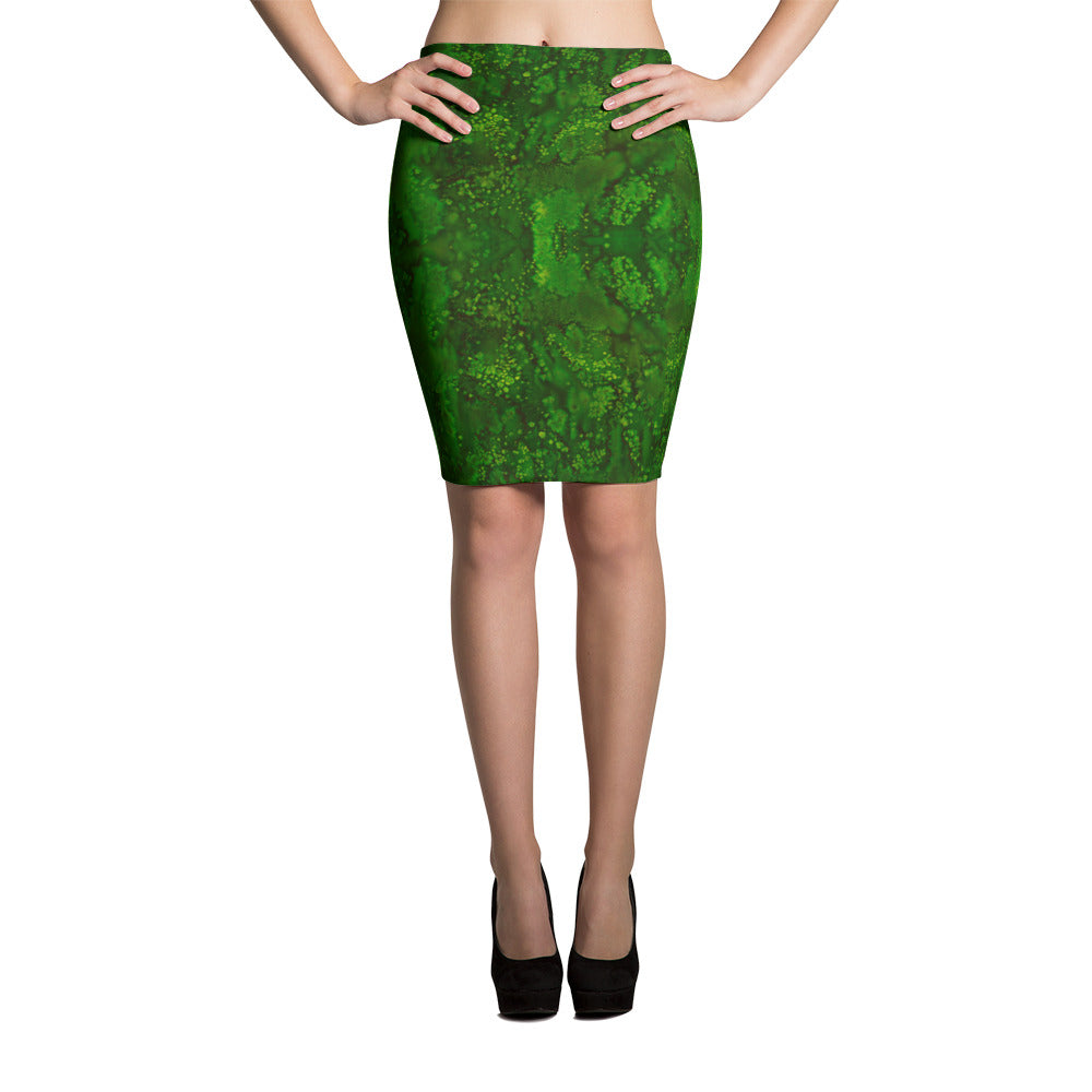 Ladies Skirts: Emerald Paisley Smudge Pencil Skirt by MuchiUSA - Valroy's Store