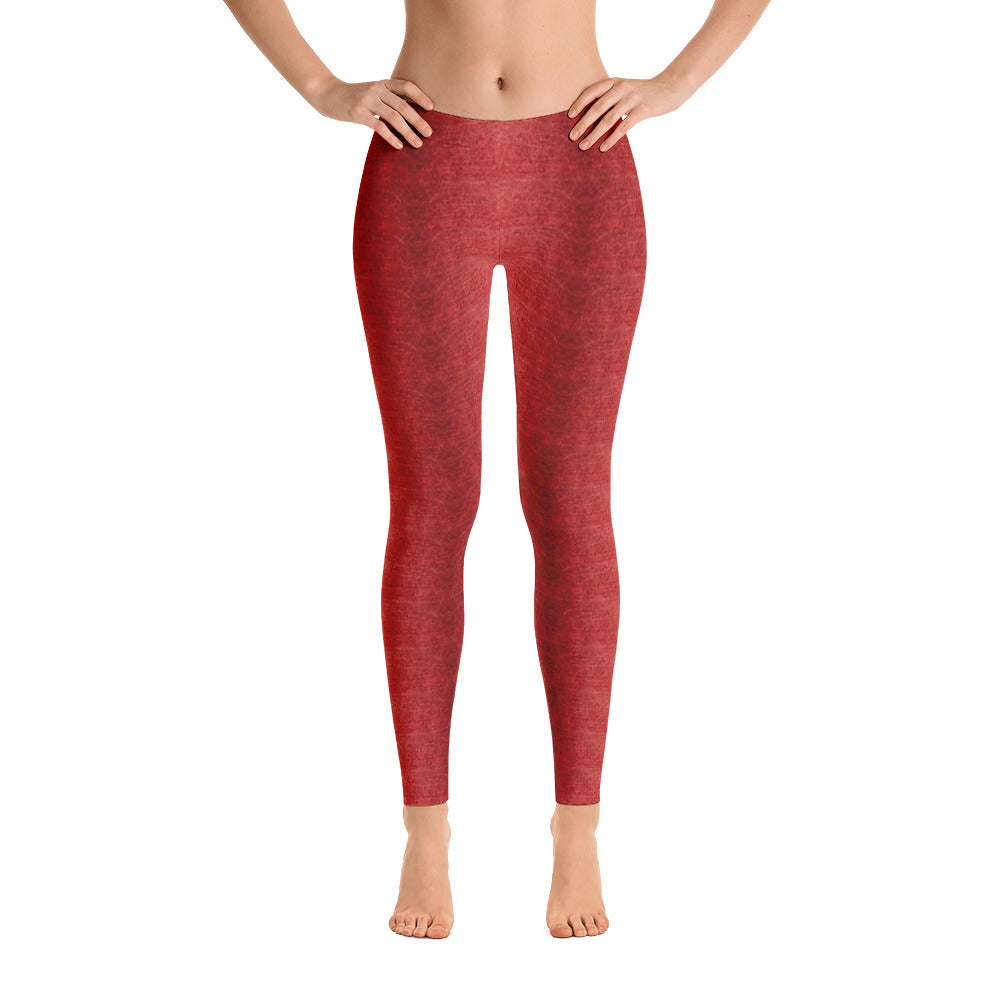Ladies Leggings: Brick Red Denim Pattern Leggings by Muchi USA - Valroy's Store