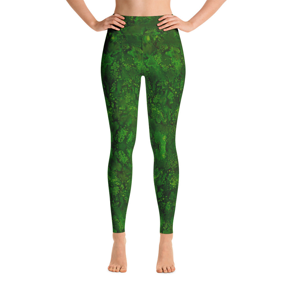 Ladies Yoga Leggings: Emerald Paisley Smudge Yoga Leggings by MuchiUSA - Valroy's Store