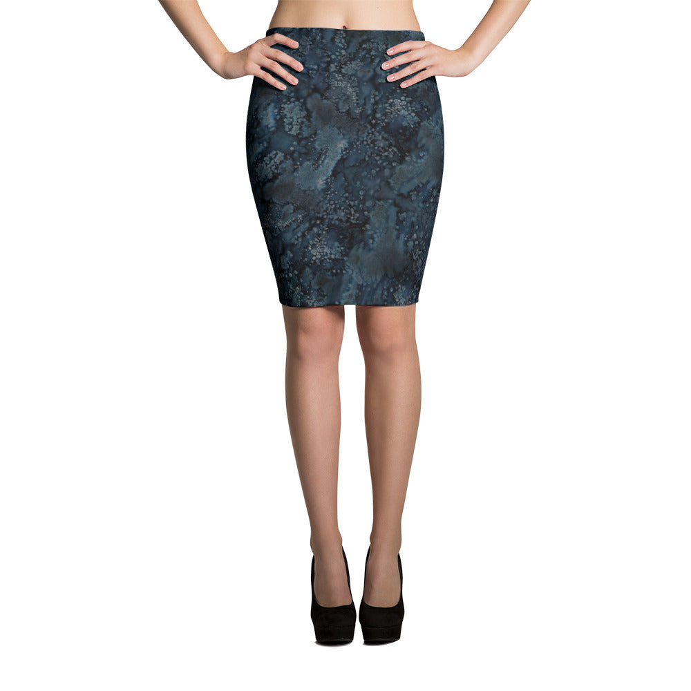 Ladies Skirts: Blue Paisley Smudge Pencil Skirt by MuchiUSA - Valroy's Store