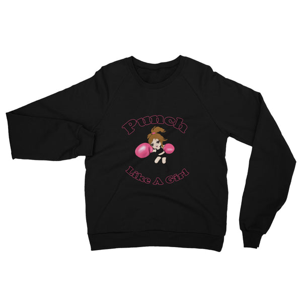 Valroys.com Ladies Sweatshirts - Punch Like A Girl Mascot Unisex California Fleece Raglan Sweatshirt - PunchFit