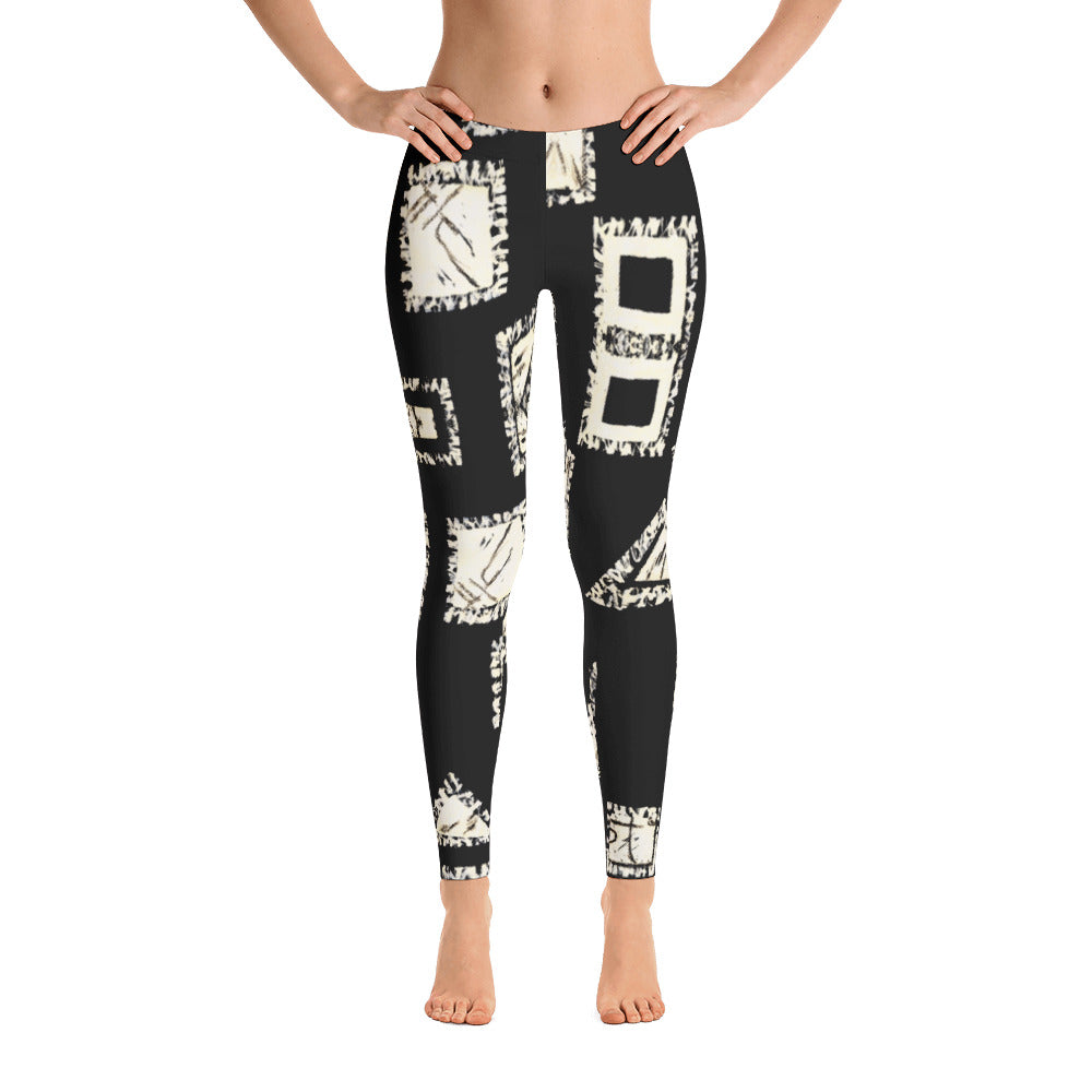 Ladies Leggings: Black with White Geometrics Leggings by Muchi USA - Valroy's Store
