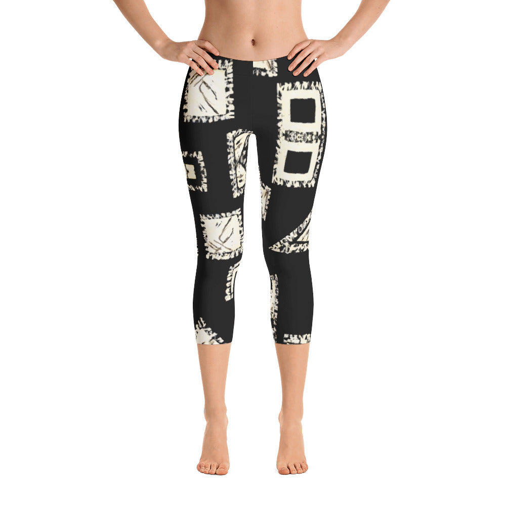 Ladies Capri Leggings: Black with White Geometrics Capri Leggings by Muchi USA - Valroy's Store