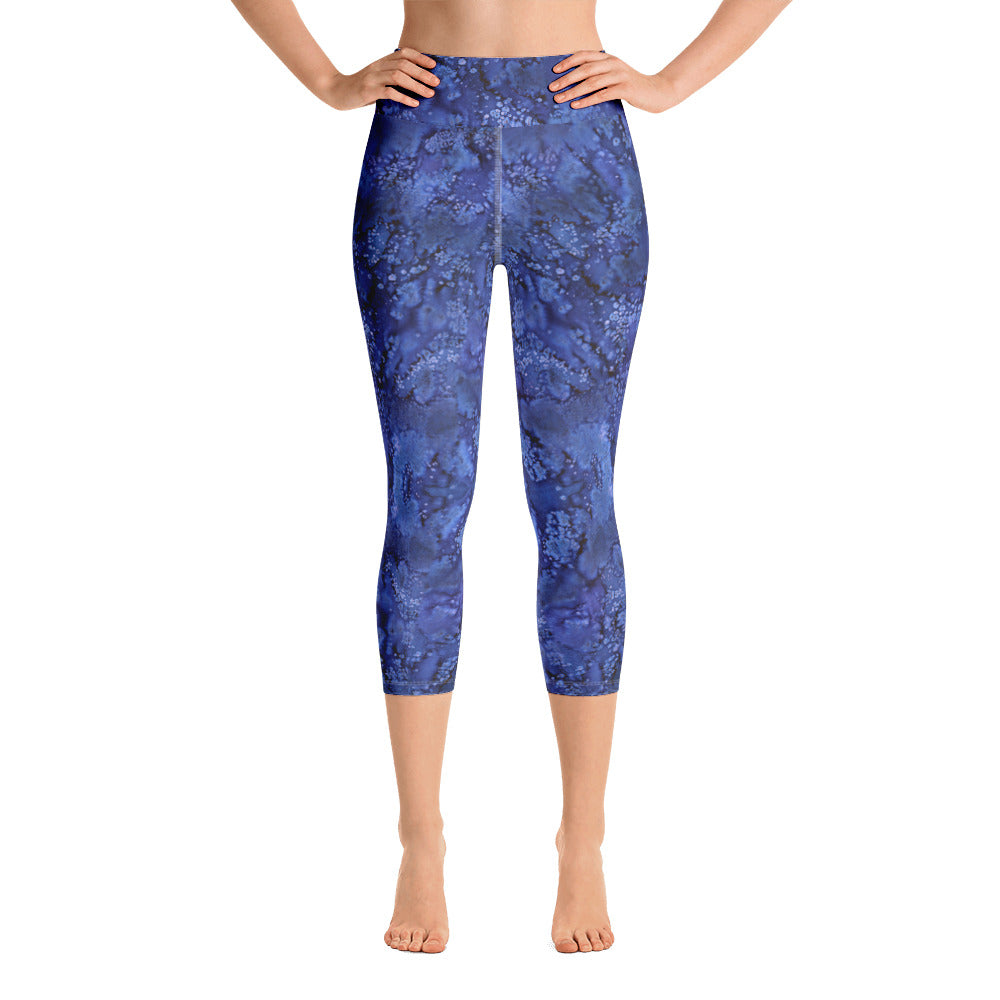 Valroys.com Ladies Yoga Capri Leggings - Perkle Paisley Smudge Yoga Capri Leggings By MuchiUSA - MuchiUSA