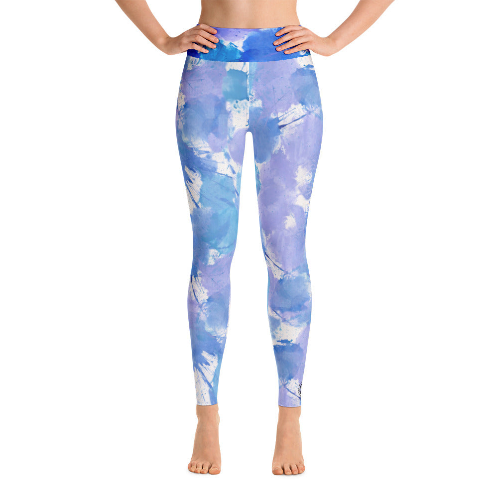 Ladies Yoga Leggings: Boxing Glove Blue Paint Punches Yoga Leggings - Punch Like A Girl - Valroy's Store