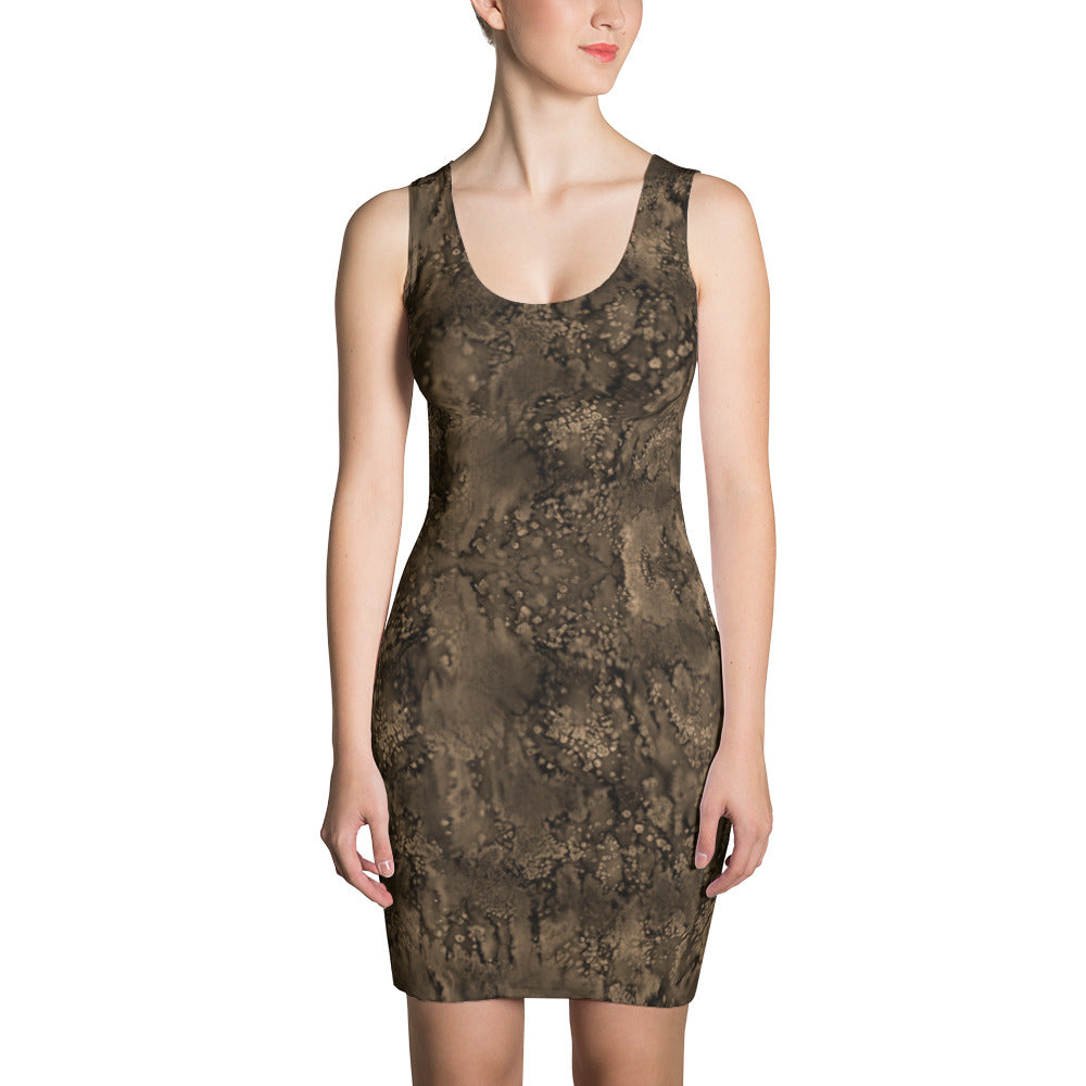 Valroys.com Ladies Dresses - Sepia Paisley Smudge Fitted Designer Dress by MuchiUSA - MuchiUSA