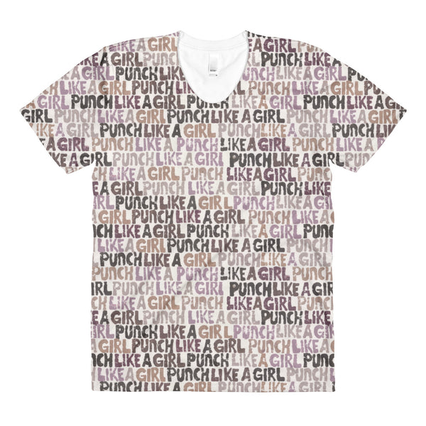 Valroys.com Ladies T-Shirts - Punch Like A Girl Words Patterns Womens Crew Neck T-shirt - PunchFit