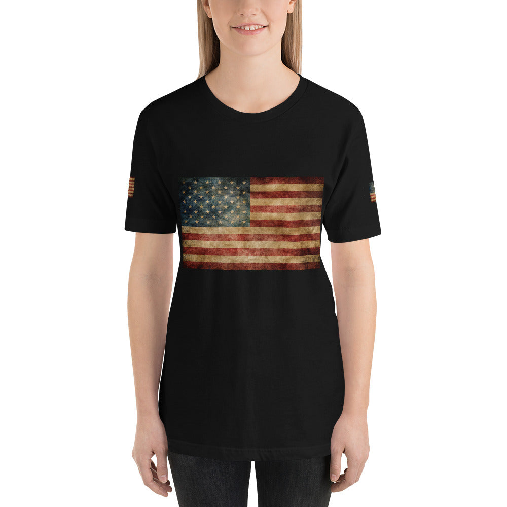 Rustic Flag Rainbow Make America Again Womens Unisex Short-Sleeve T-Shirt - Valroy's Ladies T-Shirts