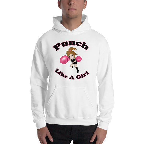 Valroys.com Unisex Hoodies - Punch Like A Girl Mascot Cartoon Hooded Sweatshirt - PunchFit
