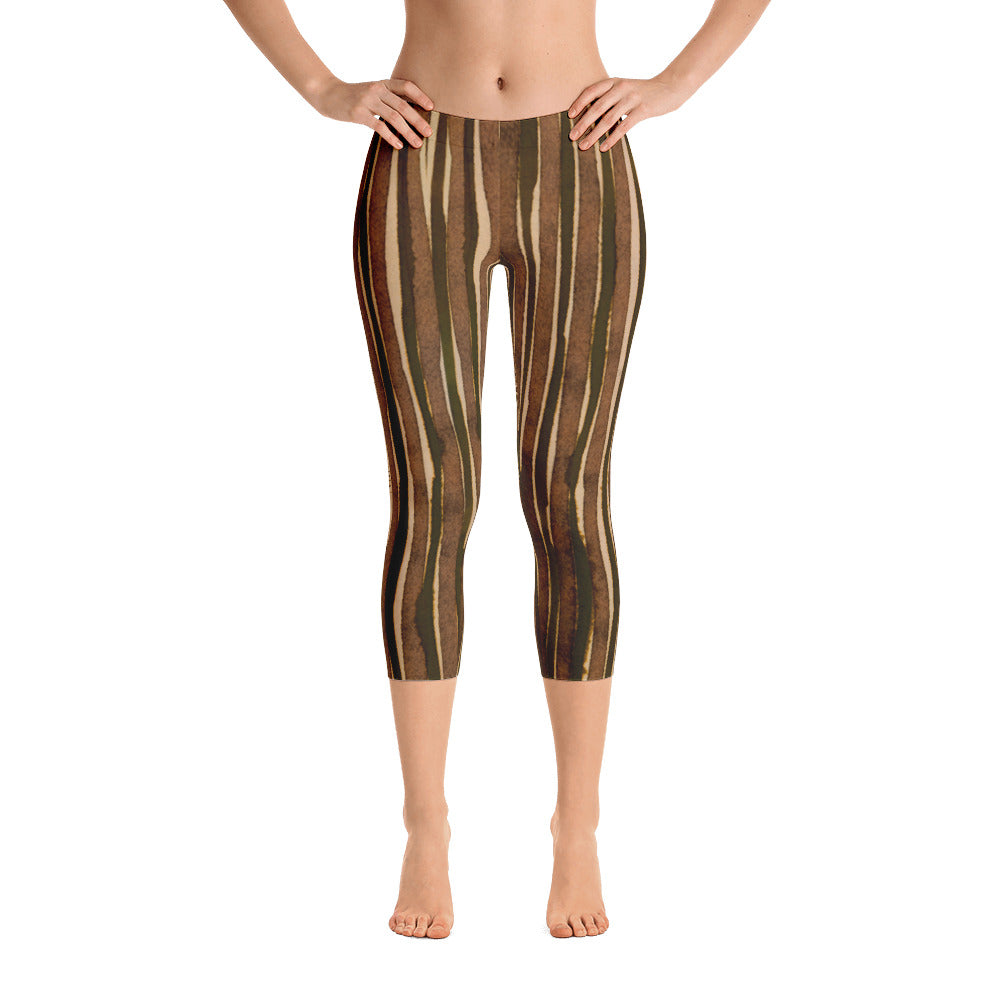 Valroys.com Ladies Capri Leggings - Water Color Brown & Olive Stripe Capri Leggings by Muchi USA - MuchiUSA