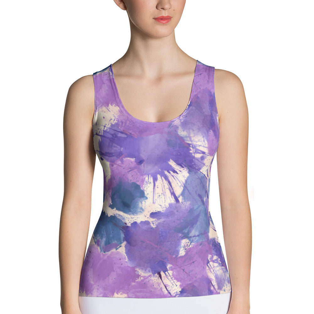 Ladies Tank Tops: Boxing Glove Lilac Paint Punches Tank Top - Punch Like A Girl - Valroy's Store