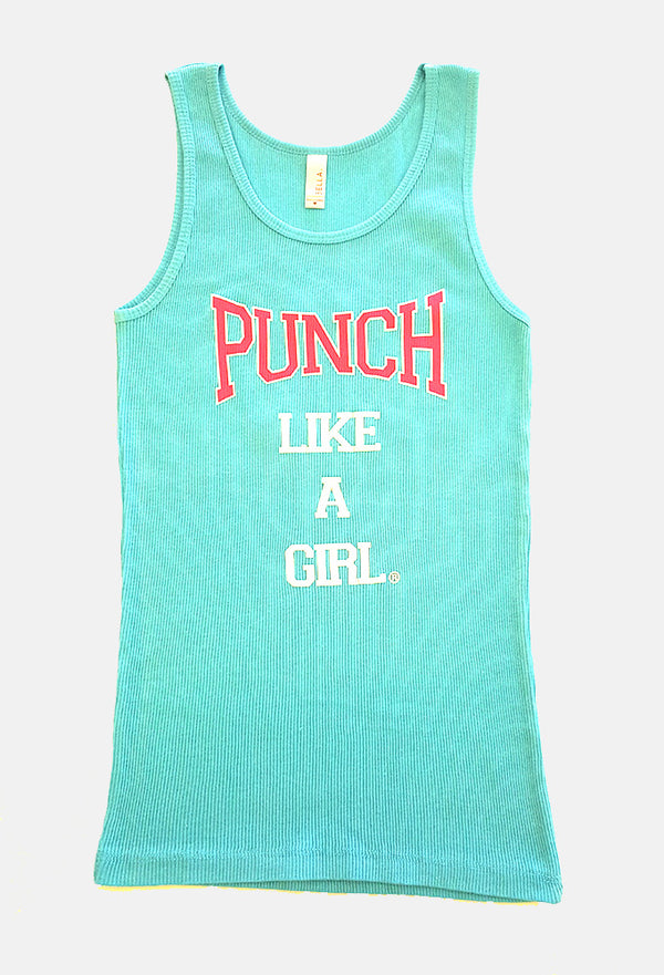 Sleeveless Turquoise Classic Ribbed Tank Top with Official Punch Like A Girl® Logo - Valroy's